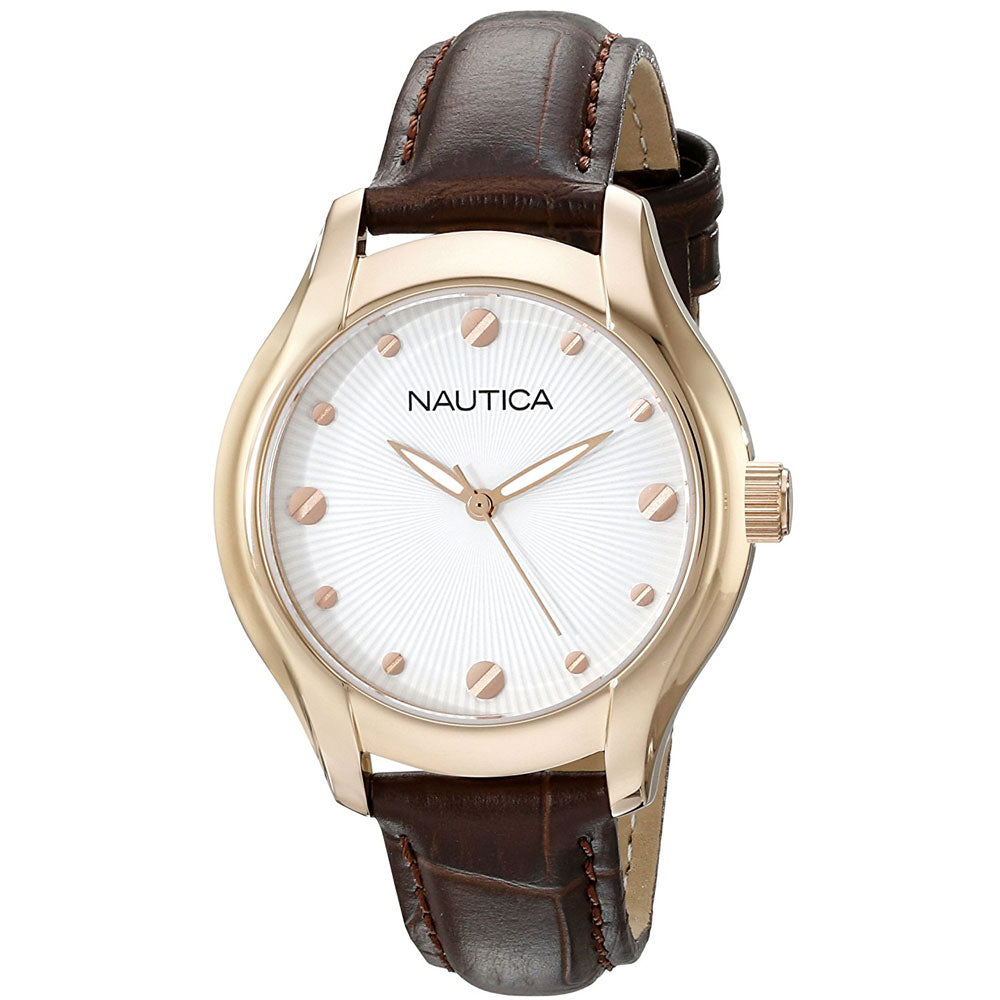 Nautica Women's N11634M Analog Display Brown Leather Watch