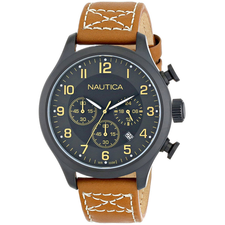 Nautica N16599G Men's Classic Stainless Steel Watch with Tan Leather Band