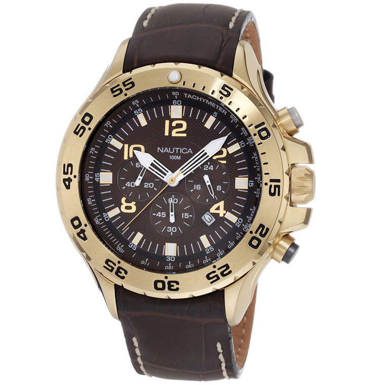 Nautica Men's N18522G Gold-Tone Stainless Steel & Leather Watch