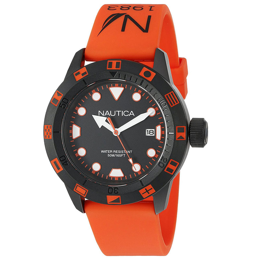 Nautica Unisex NAD10077G Flag Orange Silicone Watch
