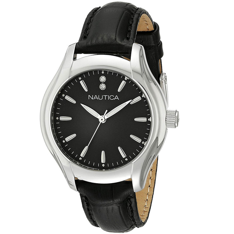 Nautica Women's NAD11003M Black Leather Watch