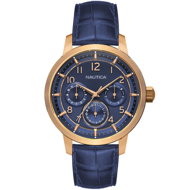 Nautica Men's NAD15523G Blue Leather Casual Watch
