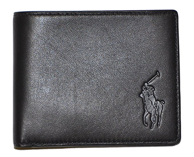 Polo Ralph Lauren Big Pony Logo Lambskin Billfold Wallet (Black)