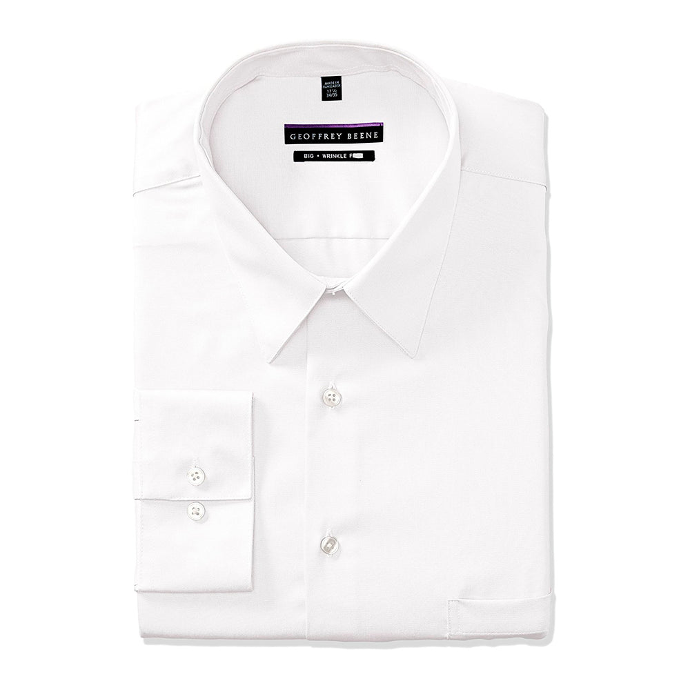 Geoffrey Beene Mens Dress Shirts Big Fit Solid Point Collar White