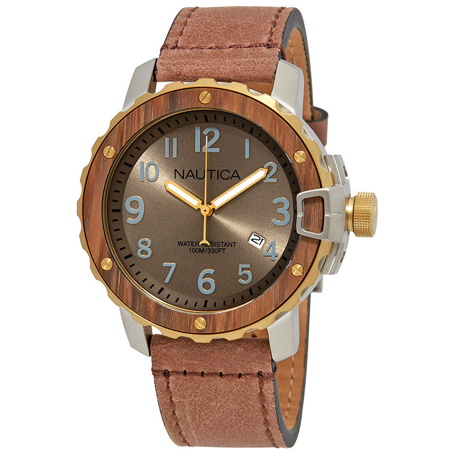 Nautica NAD15515G Men's Brown Leather Casual Watch
