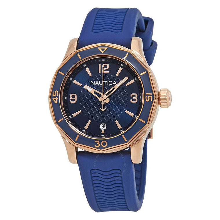 Nautica Womens NAD13525L Rose Gold Blue Silicone Watch