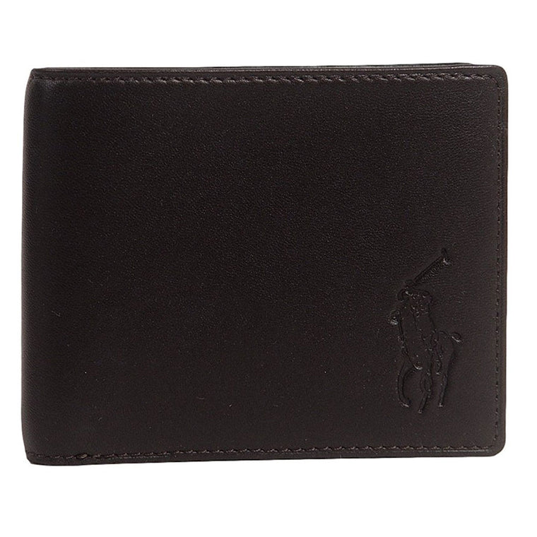 Polo Ralph Lauren Big Pony Logo Lambskin Billfold Wallet Dark Brown