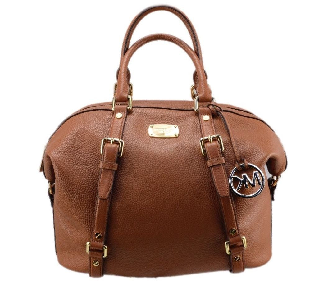 Michael Kors Large Bedford Slouchy Bowling Luggage Leather Satchel Bag