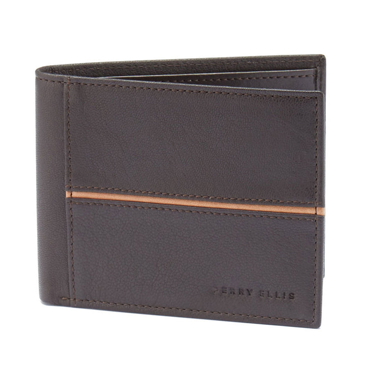 Perry Ellis Portfolio Men's Wallet Passbook Brown