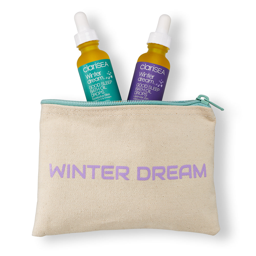 WINTER DREAM Bag w/Lavender Zen + Eucalyptus Bliss Bath Oil Drops