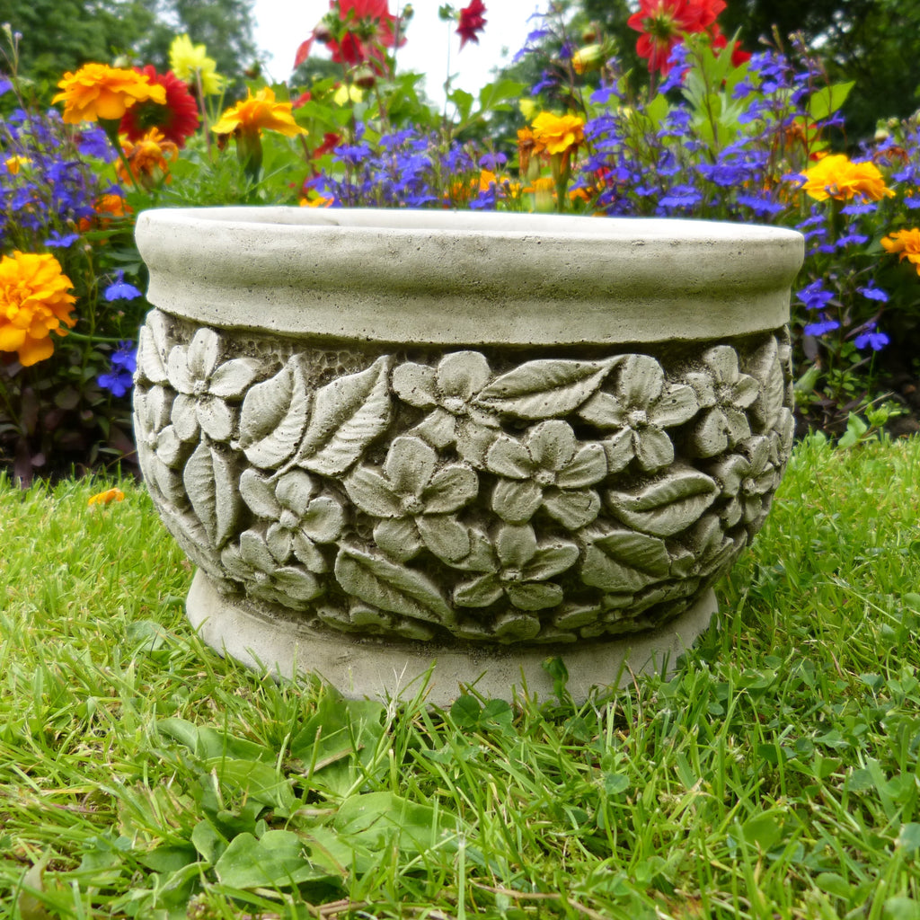 Small flower pot planter basket garden ornament stone for Flower garden ornaments