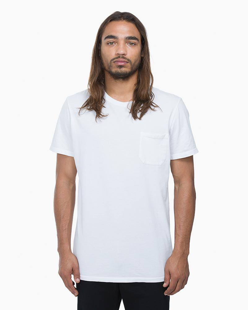 Men's White Crew Pocket Tee