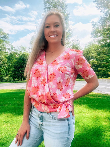 Pink Floral Wrap Top