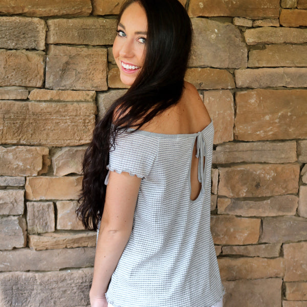 Gray & Ivory Striped Off the Shoulder Top