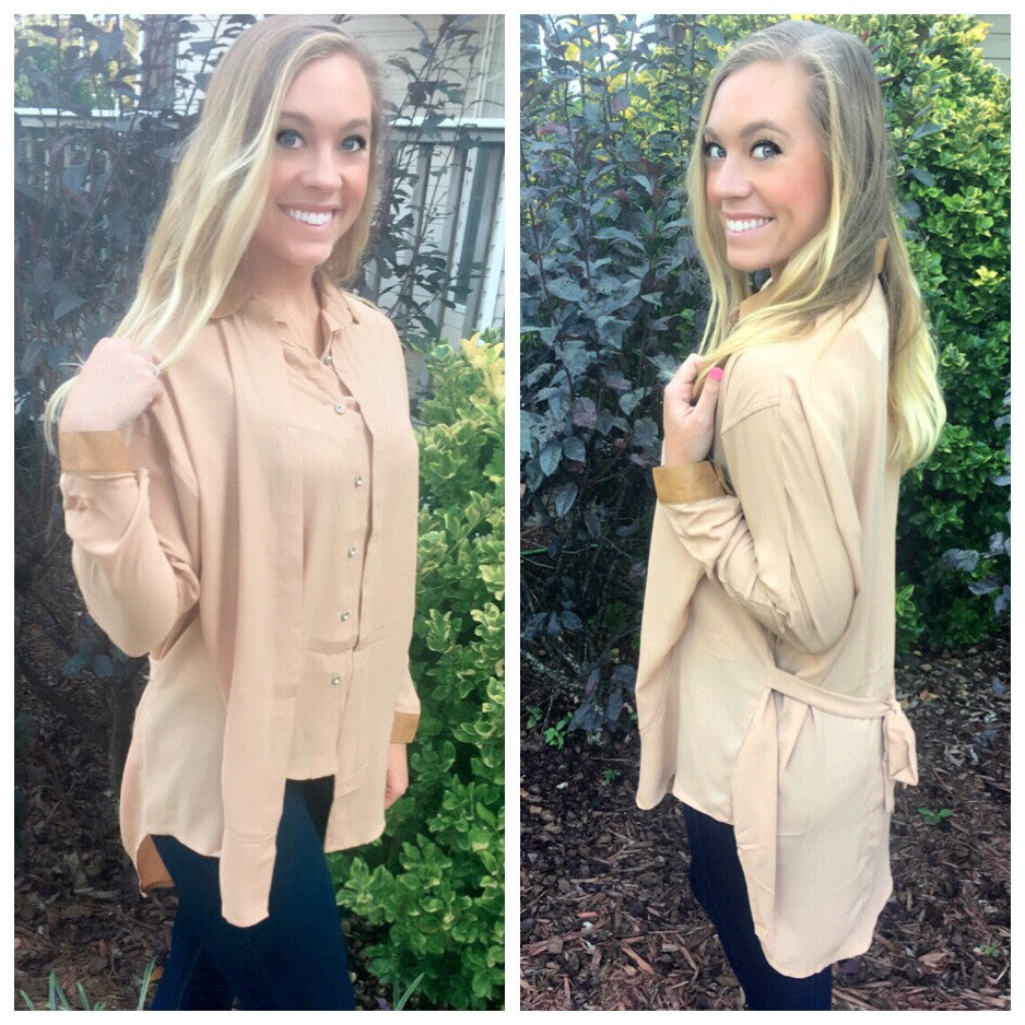 Taupe button down with Leather Trim