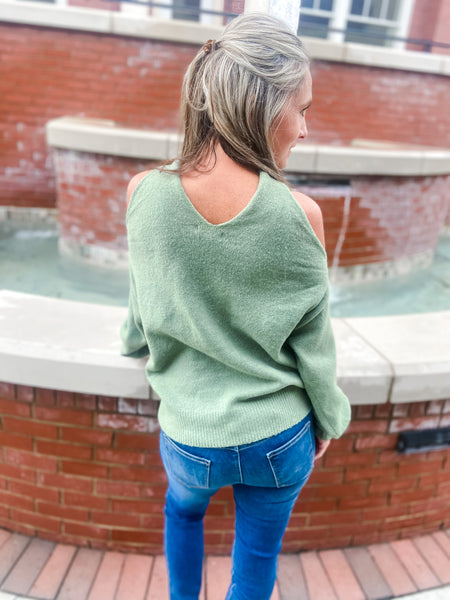 Sage Front Twist Sweater