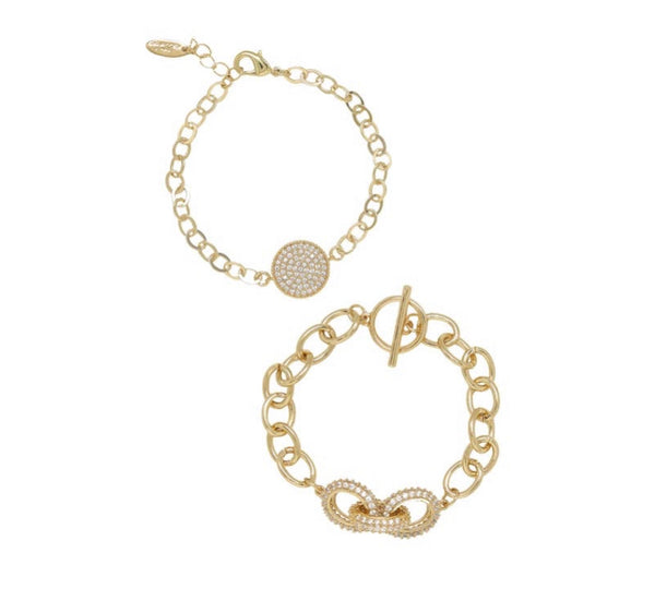 Mixed Crystal Disc Bracelet Set
