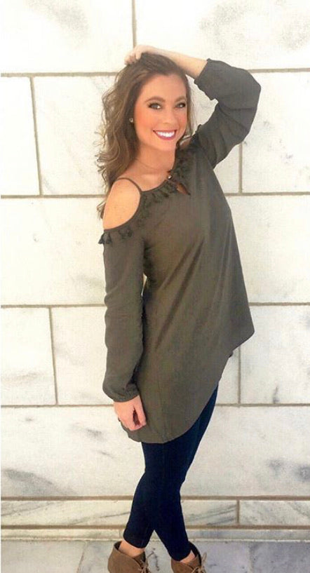 Olive Off the Shoulder Blouse w/ Fringe Detailing
