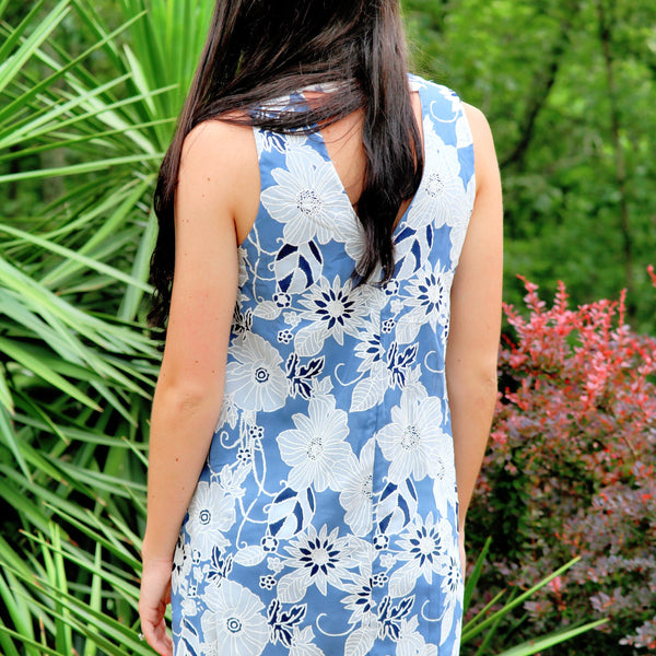 Blue & White Floral Dress