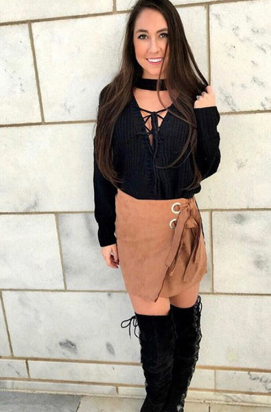 Midnight Fully Lace-up Sweater