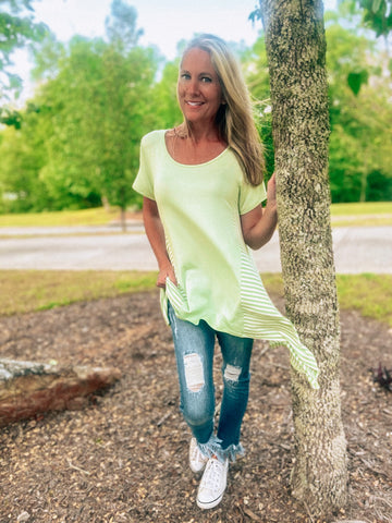 Mint for You Shark Hem Top