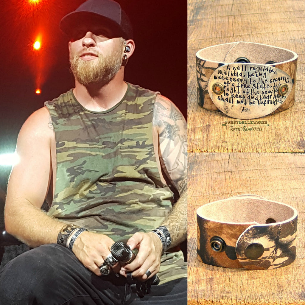 Second Amendment Camo Leather Cuff on Stage with Brantley Gilbert!