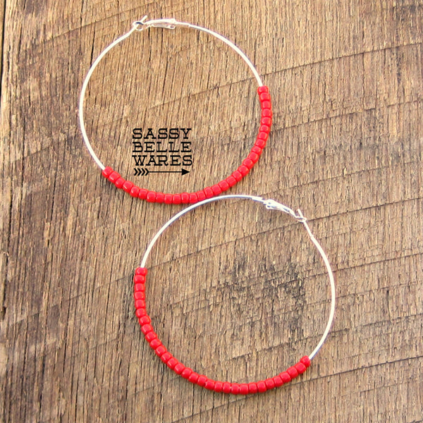 "Large Beaded Hoop Earrings 2.75"" Diameter Silver Hoops Red Beads"