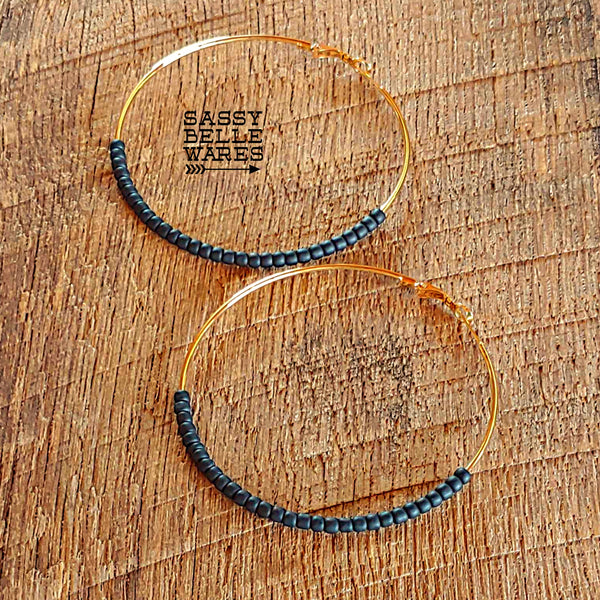 "Large Beaded Hoop Earrings 2.75"" Diameter Gold Hoops Black Beads"