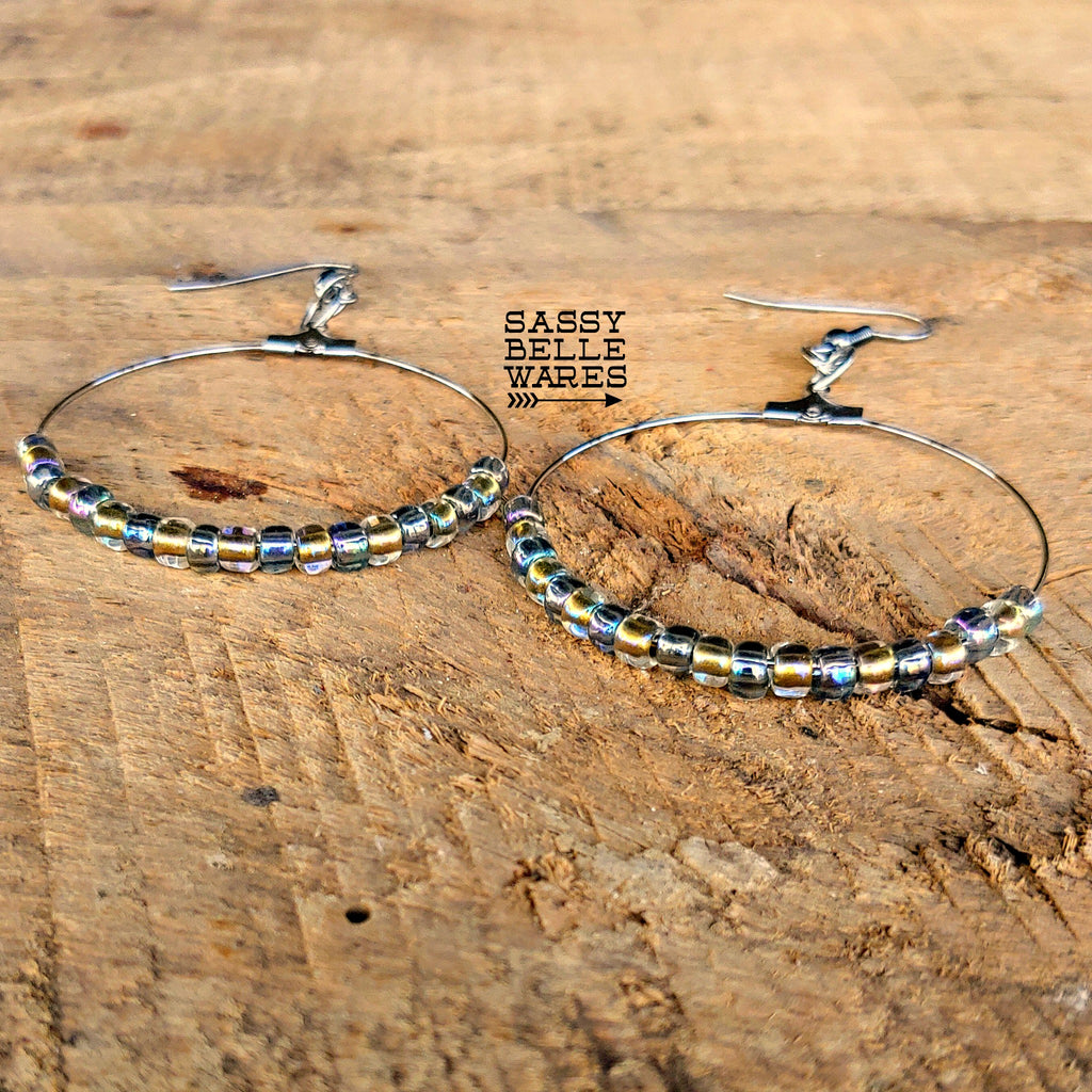 "Beaded Hoop Earrings 1.75"" Diameter Silver Hoops Crystal Gold and Black Diamond Rainbow Beads"