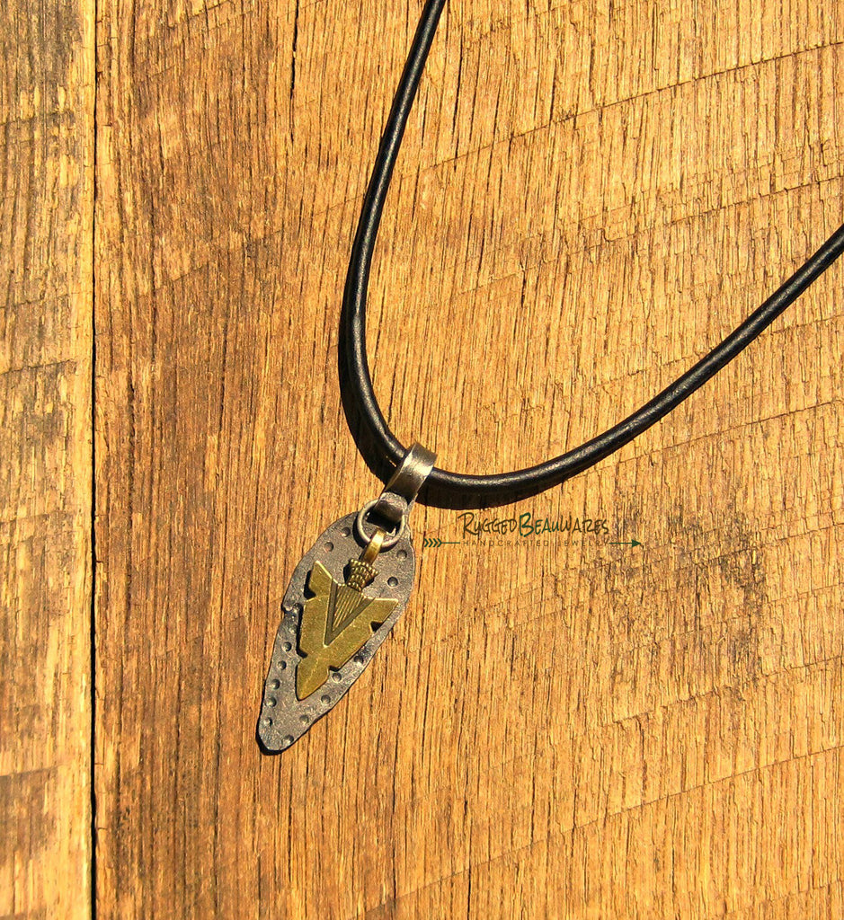Mens Antique Bronze Arrowhead and Dot Black Leather Necklace