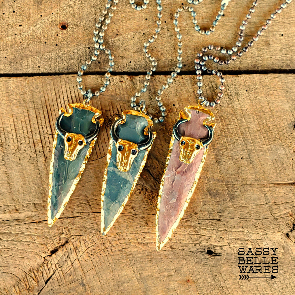 Arrowhead with Steer Skull Necklace