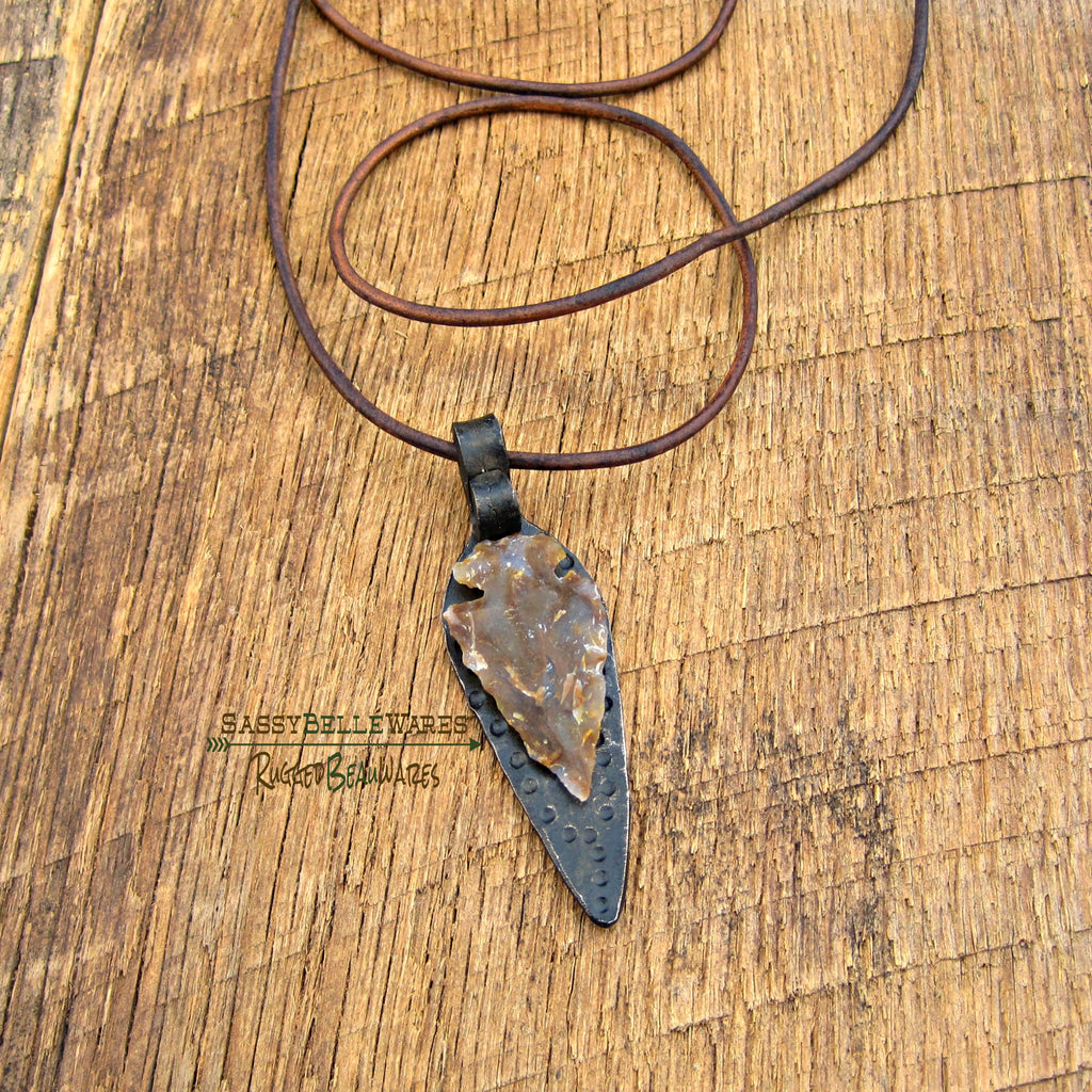 As Seen on Caeland Garner on The Voice Stone Arrowhead and Forged Steel Leather Necklace