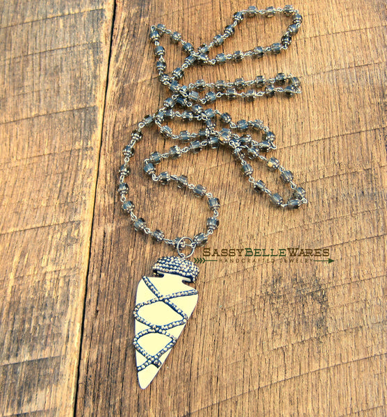 Arrowhead and Pave Crystal Necklace