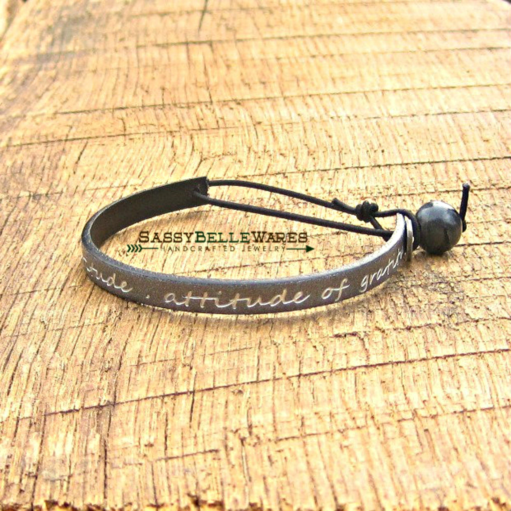 Attitude of Gratitude Leather Bracelet Gun Metal