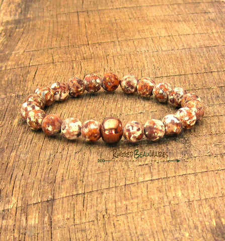 Mens Antiqued Agate and Mykonos Raku Bracelet