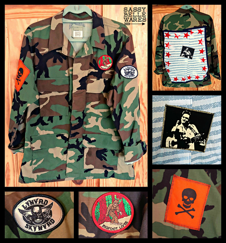 Camo Jacket with Patches - Johnny Cash - Big Foot - Lynyrd Skynyrd - Skull and Crossbones