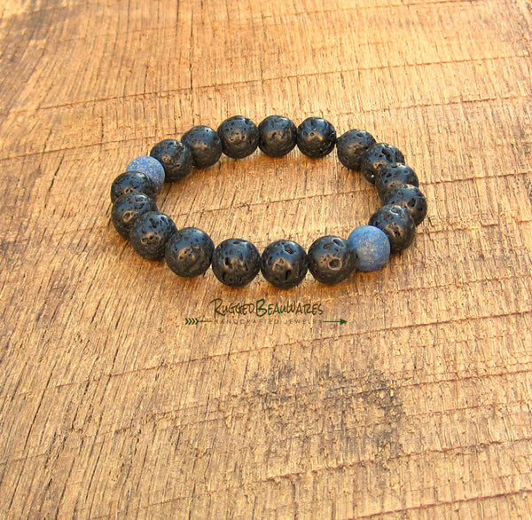 Mens Black Lava Rock and Lapis Lazuli Bracelet
