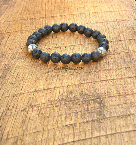 Mens Black Lava Rock and Scenery Jasper Bracelet