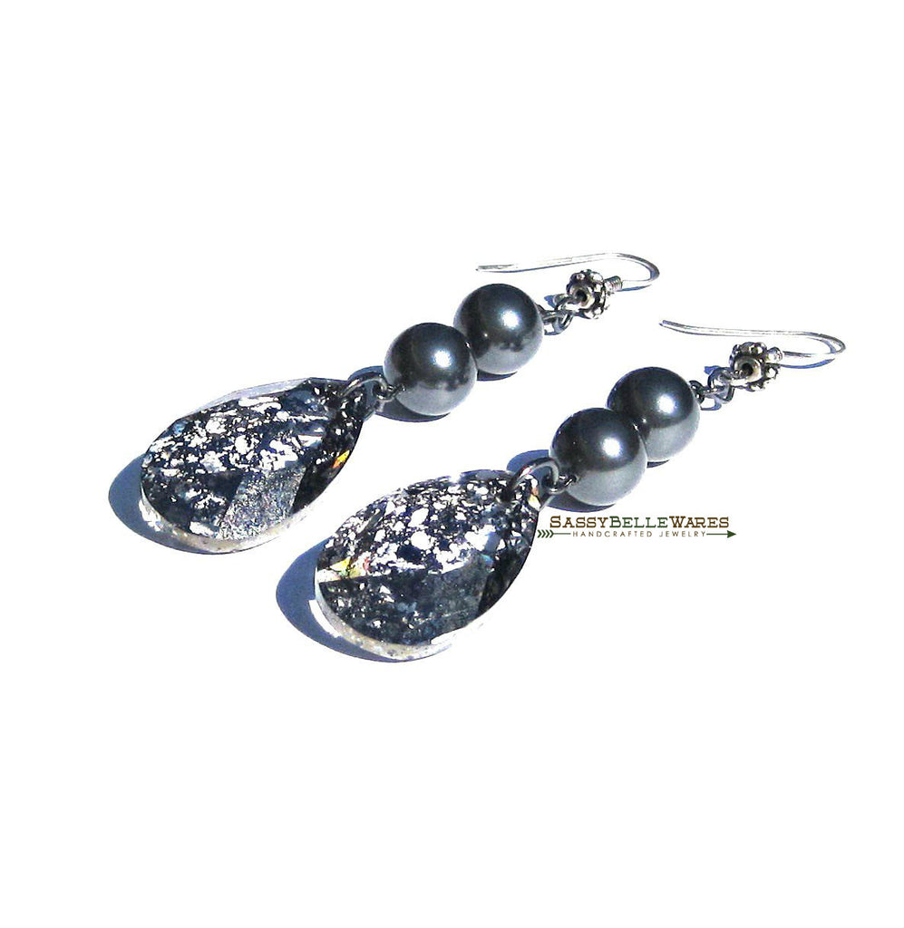 Swarovski Pear Shaped Dangle Earrings in Black and Grey
