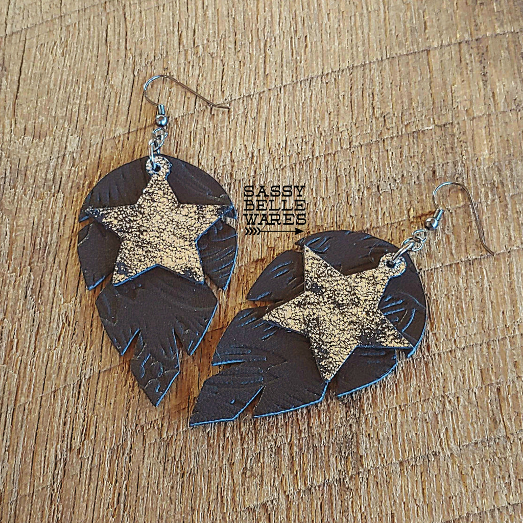 Leather Leaf Earrings Black Textured with Black & Silver Stars