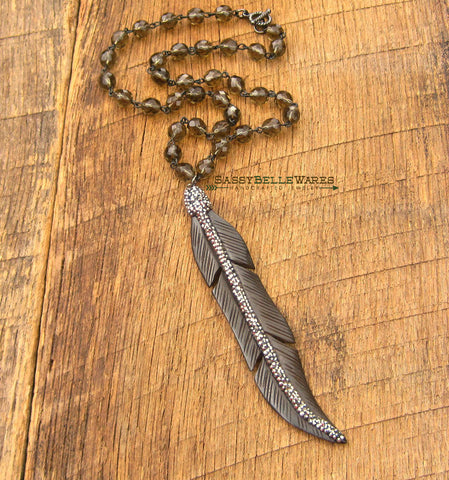 Leaf with Pave Crystals Necklace