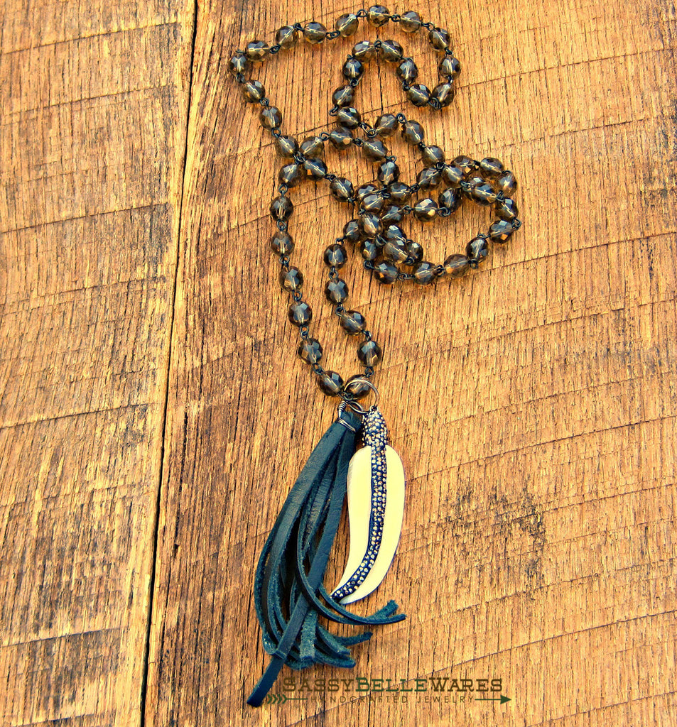 Feather with Pave Crystals and Leather Tassel Necklace