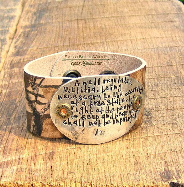 As Seen on Brantley Gilbert Second Amendment Camo Leather Cuff Bracelet