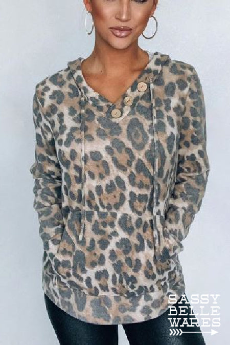 Leopard Hoodie with Button Details