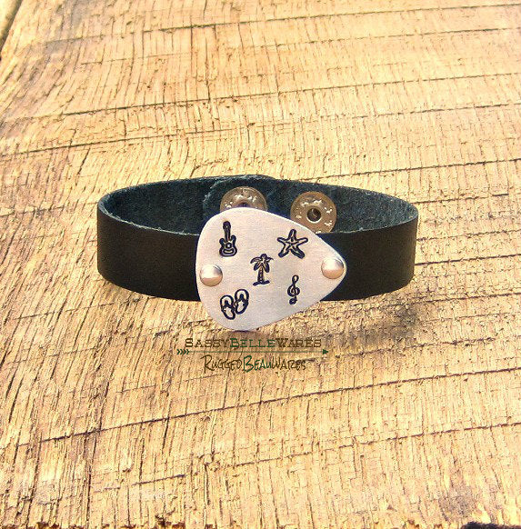 Country On The Beach Guitar Pick Leather Bracelet