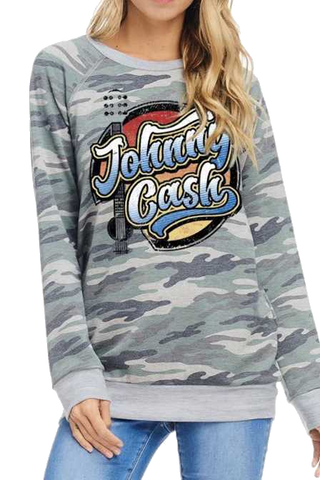 Johnny Cash Camo Sweatshirt Multi Color Graphic