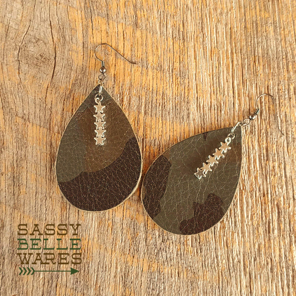 Leather Teardrop Earrings Dark Camo with Stars