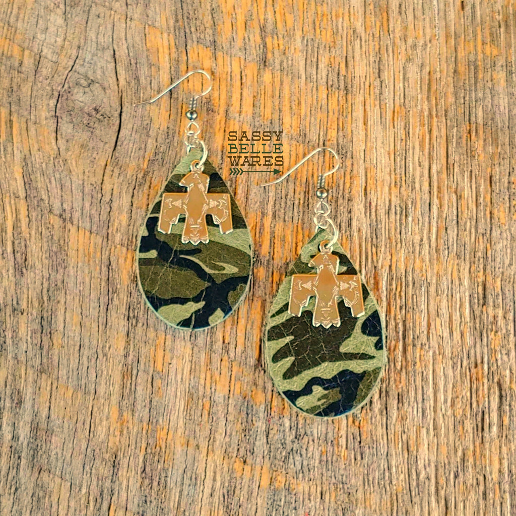 Leather Teardrop Earrings Light Camo with Thunderbirds