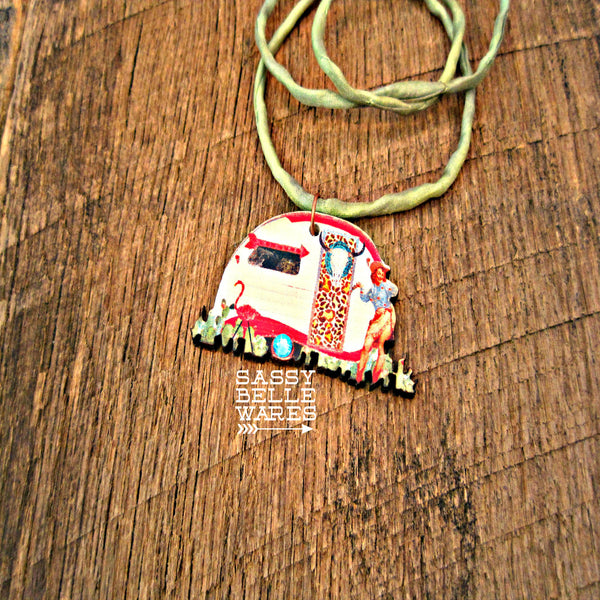 Glamping Queen Leopard and Flamingo Camper Necklace