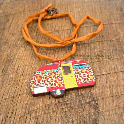 Glamping Queen Leopard Camper Necklace